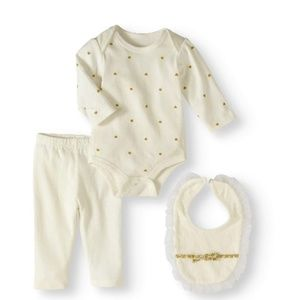 NWT Bon Bebe Baby Girl Bodysuit, Pants & Bib Set